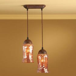 Lluvia Pendant Lamp 2L oxide forge + lampshade Copper thin