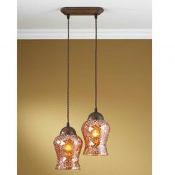 Lluvia Pendant Lamp 2L oxide forge + lampshade Copper