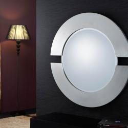 miroir Ronde Moulage 2 parties Feuille d´argent
