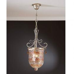 Sena Pendant Lamp 1L silver nacre + Glass Small orange Topos
