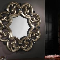 miroir Moldura Calado Strass/Argent
