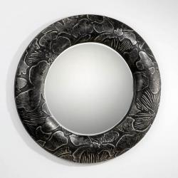 espejo Redondo Plata/Simil Piel