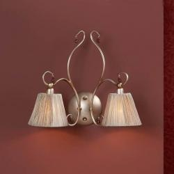 Salma Wall Lamp 2L Silver Golden aged + lampshade fabric fruncida