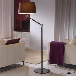 Atlas lámpara of Floor Lamp 1L Aluminium Black + lampshade Brown