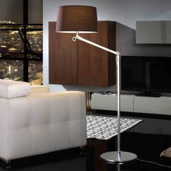 Atlas lámpara of Floor Lamp 1L Aluminium Anodized + lampshade Brown