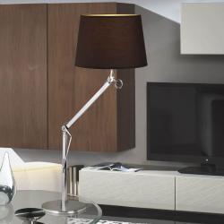 Atlas Lampe de table 1L Aluminium Anodisé + abat-jour Brun