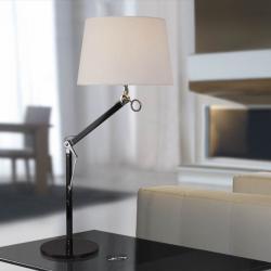 Atlas Lampe de table 1L Aluminium Noir + abat-jour Brun