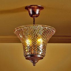 Paris ceiling lamp 2L oxide forge + lampshade mosaic Glass orange