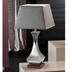 Deco Table Lamp Silver Leaf + lampshade Grey
