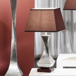 Deco Table Lamp Silver Leaf/Black lampshade 7367