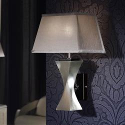 Deco Wall Lamp 1L Silver Leaf/Black + lampshade Silver