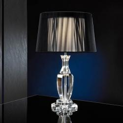 Corinto Lampe de table Double LED 60W abat-jour noir/Transparent