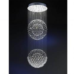 Estratos Suspension 2 Balles 10xGU10 LED 7W chromé brillant/Verre Asfour