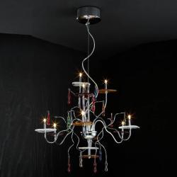 Dali Pendant Lamp 9L bright chrome/Glass Murano