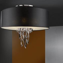 Domo ceiling lamp 4L bright chrome + lampshade black 60 ø