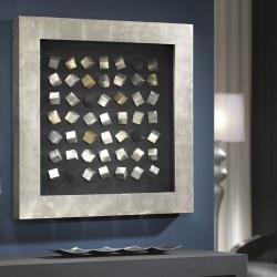 Cubic bajorrelieve Cuadrado Grande Plata