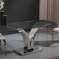 Isabella dining table Stainless Steel/Glass 180cm