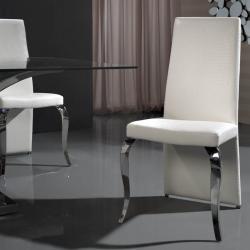 Greta silla acero Inox/Polipiel blanco Cocodrilo