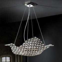 Satén Lámpara Colgante 8xG9 LED 6W Cristal y smoke combinado