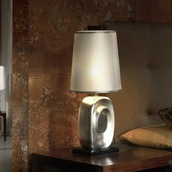 Minos Table Lamp 59cm Silver with white lampshade