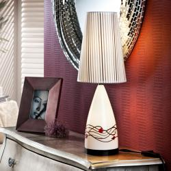 Table Lamp Glass white 2L Nerea with lampshade