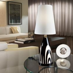 Nerea Table Lamp Glass Black 2L with lampshade