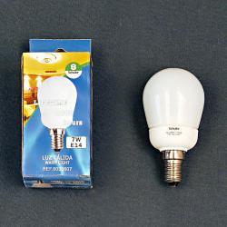 Ampoule économie d´énergie lumineuse Fluorescent opale E14 Mini Globo 7W 3000Kº