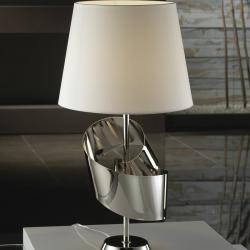 Lazo Table Lamp Nickel white lampshade
