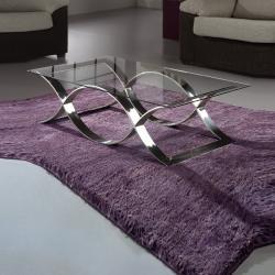 Time Mesa de centro rectangular 130x70 cm Acero y Cristal