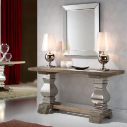 Antica 160 console 160x8x45cm Wood with patina white