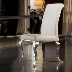 Barroque Silla 48x103x67cm - Ecopiel blanco estructura acero inoxidable