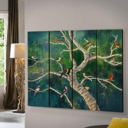 Birds Políptico 150x180cm - Pintado a mano 4 paneles de Madera tallada y pintada
