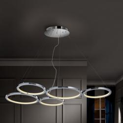 Ceres Pendant Lamp 5 Rings 100W LED - Chrome