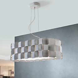 Coras Lámpara Colgante Oval 4L E27 LED 10W Blanco Mate y Cromo