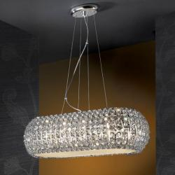 Diamond Pendant Lamp oval 10 G9 LED 4W Chrome/Copens Glass