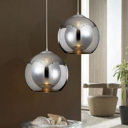 Sphère Lampe Suspension 36x35cm 1xE27 LED 10W - Chrome abat-jour Verre espejado Chromé