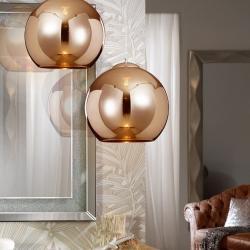 Sphère Lampe Suspension 36x35cm 1xE27 LED 10W - Cuivre abat-jour Verre espejado Cuivre