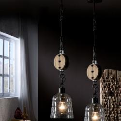 Estiba Lampe Suspension 57x15cm 1xE27 LED 10W - Noir abat-jour Verre soplado