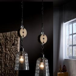 Estiba Lampe Suspension 62x18cm 1xE27 LED 10W - Noir abat-jour Verre soplado