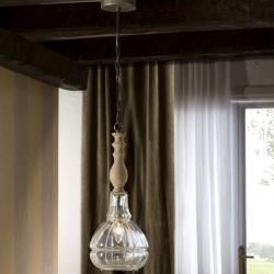 Factory Lampe Suspension 52x20cm E14 60W - Hierro abat-jour Verre soplado