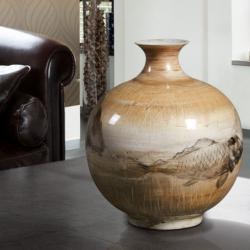 Koi Vasija pequeña 28x24cm - ceramics pintada to mano