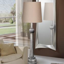 Lida Floor Lamp 177x55cm 1xE27 LED 10W - antique silver lampshade textile beige