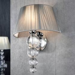 Mercury Wall Lamp 39x28cm 1xE27 LED 5,5W - Chrome lampshade Silver