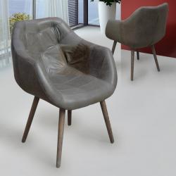 Orly sillón 87x65cm Madera con pátina blanca - gris ceniza