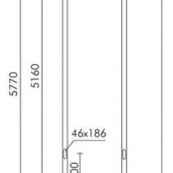 Slot Poste cylindrical ø102mm embed ø76mm acoplamiento H571cm Grey Aluminium