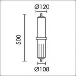 Slot candela Accessorio per acople ø121mm Grigio Alluminio