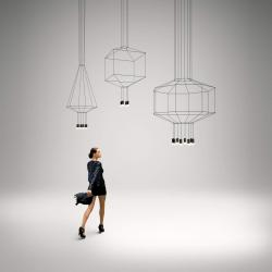 Wireflow Pendant Lamp ø30cm 4xLED 4,5W dimmable (con Diffuser of vidrio) - Lacquered Black