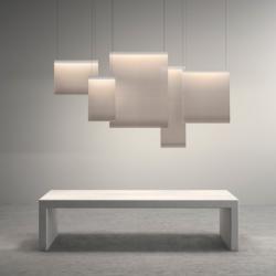 Curtain Lampe Suspension 40x30cm 2xLED 8,4W dimmable - abat-jour blanc et perfil Laqué Graphite mate