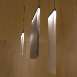 Curtain Lampe Suspension 40x30cm 2xLED 8,4W dimmable - abat-jour visón et perfil Laqué Graphite mate