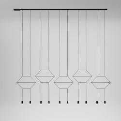 Wireflow linéaire Suspension 200cm 10xLED 4,5W dimmable (disposición B) - Laqué Noir